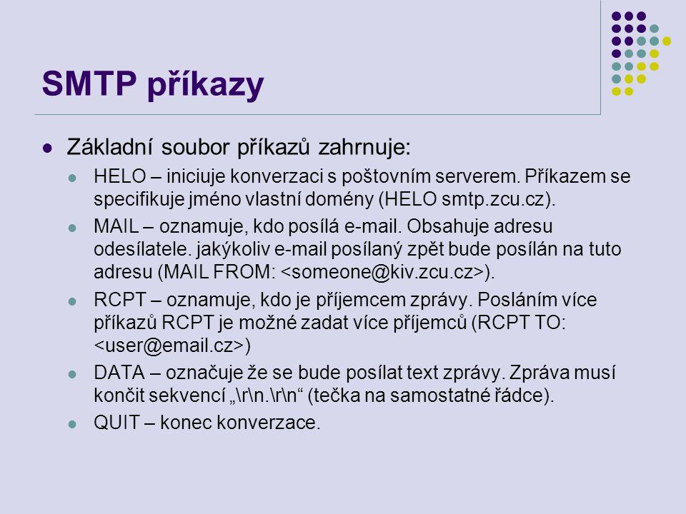 SMTP příkazy Základní soubor příkazů zahrnuje: