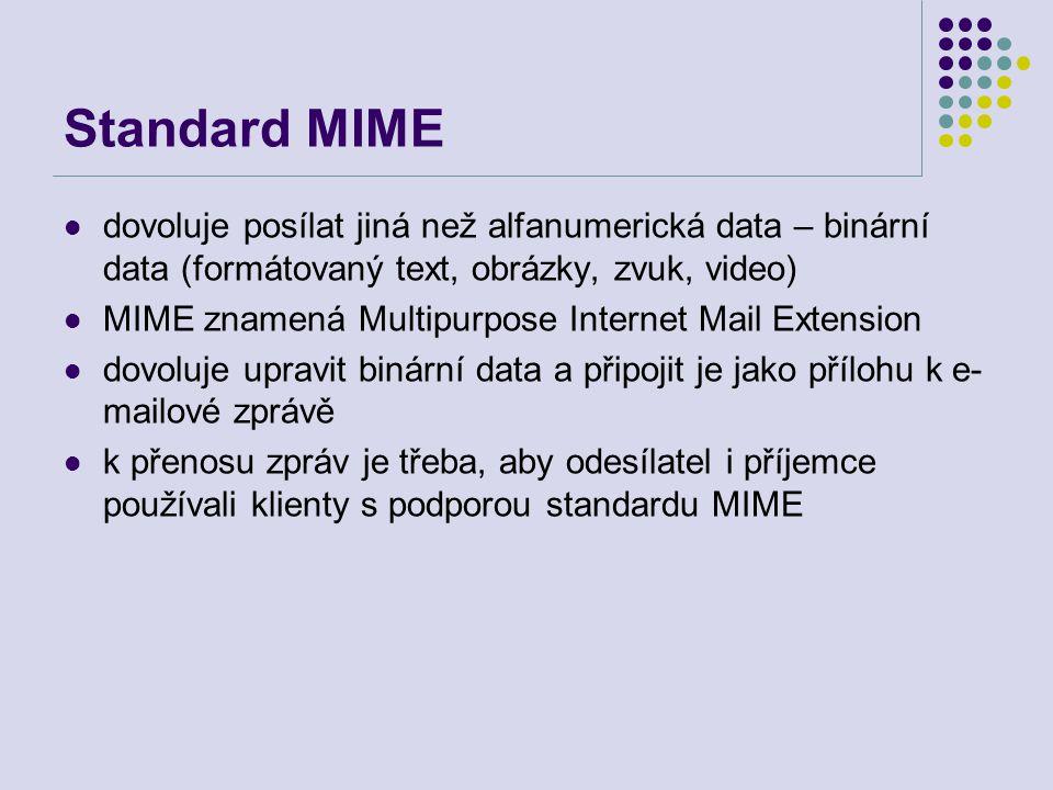 Standard MIME dovoluje posílat jiná než alfanumerická data – binární data (formátovaný text, obrázky, zvuk, video)