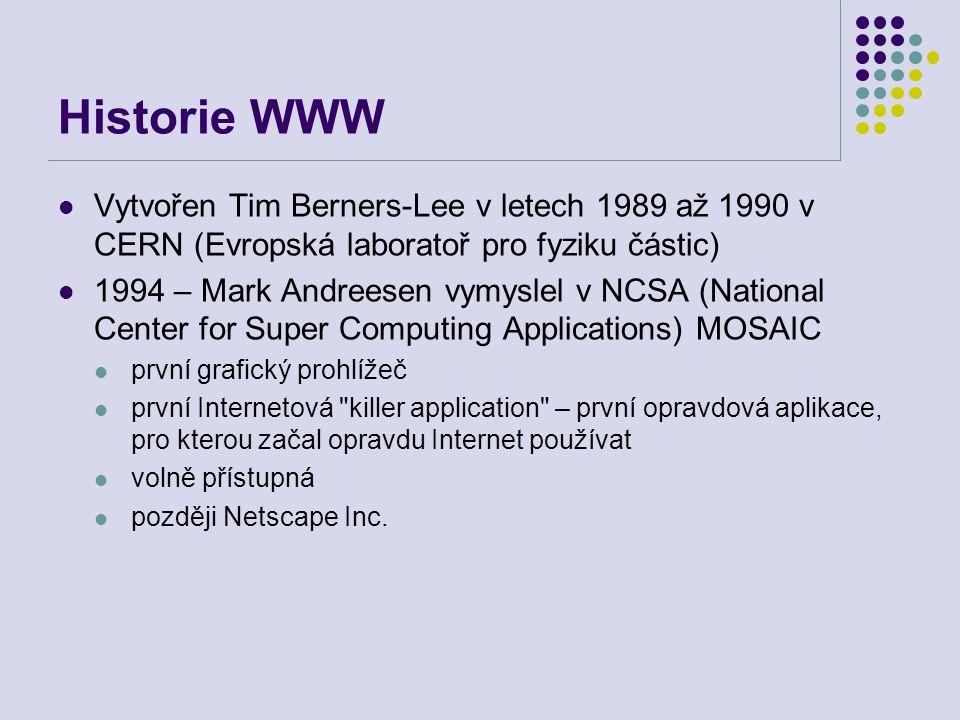 Historie WWW Vytvořen Tim Berners-Lee v letech 1989 až 1990 v CERN (Evropská laboratoř pro fyziku částic)