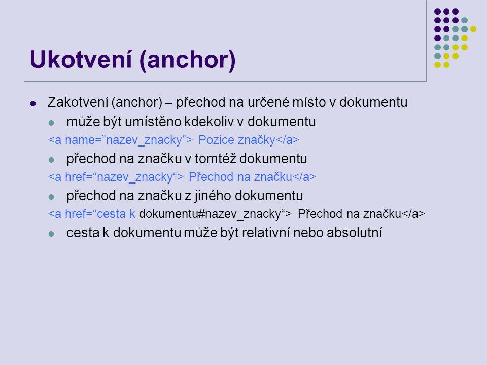 Ukotvení (anchor) Zakotvení (anchor) – přechod na určené místo v dokumentu. může být umístěno kdekoliv v dokumentu.