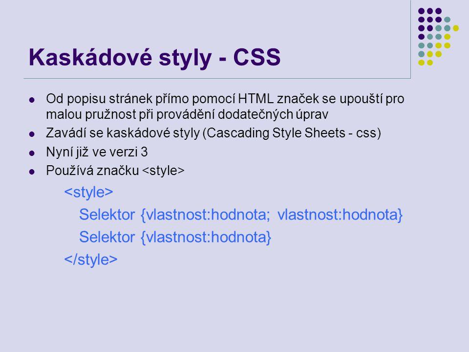 Kaskádové styly - CSS <style>