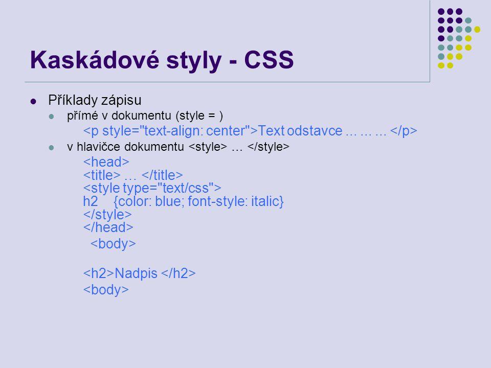 Kaskádové styly - CSS Příklady zápisu