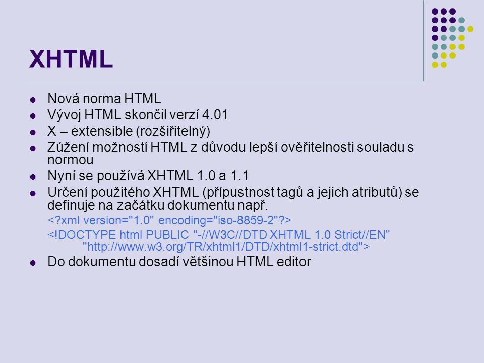 XHTML Nová norma HTML Vývoj HTML skončil verzí 4.01