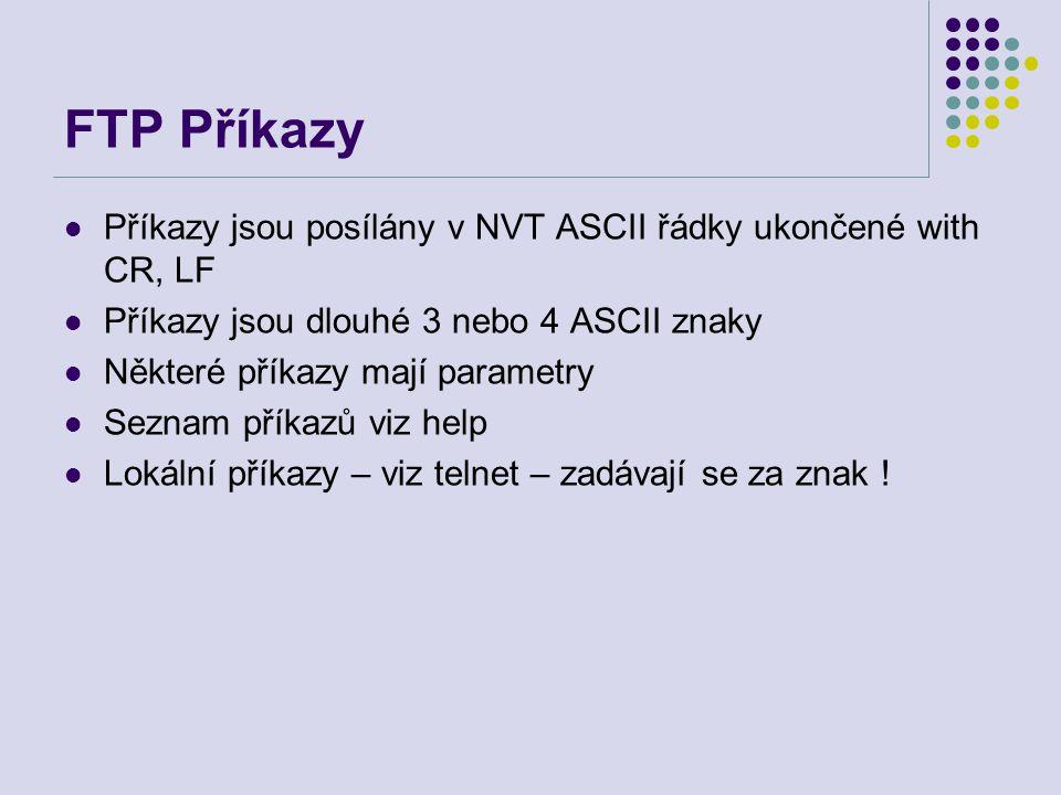 FTP Příkazy Příkazy jsou posílány v NVT ASCII řádky ukončené with CR, LF. Příkazy jsou dlouhé 3 nebo 4 ASCII znaky.