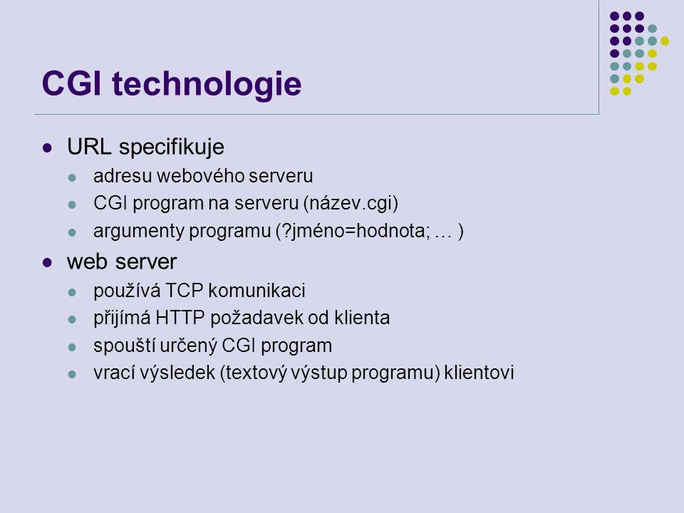 CGI technologie URL specifikuje web server adresu webového serveru