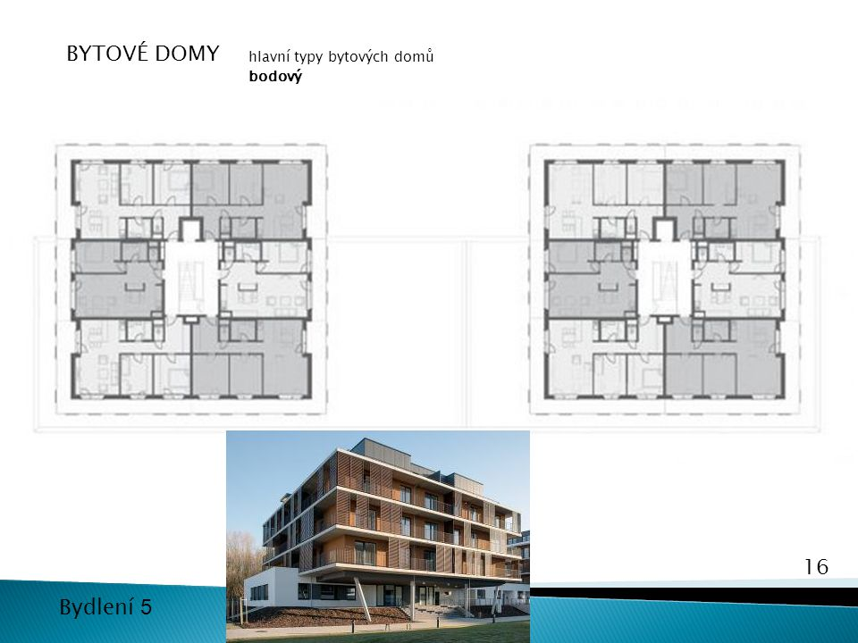 BYTOVÉ DOMY hlavní typy bytových domů bodový