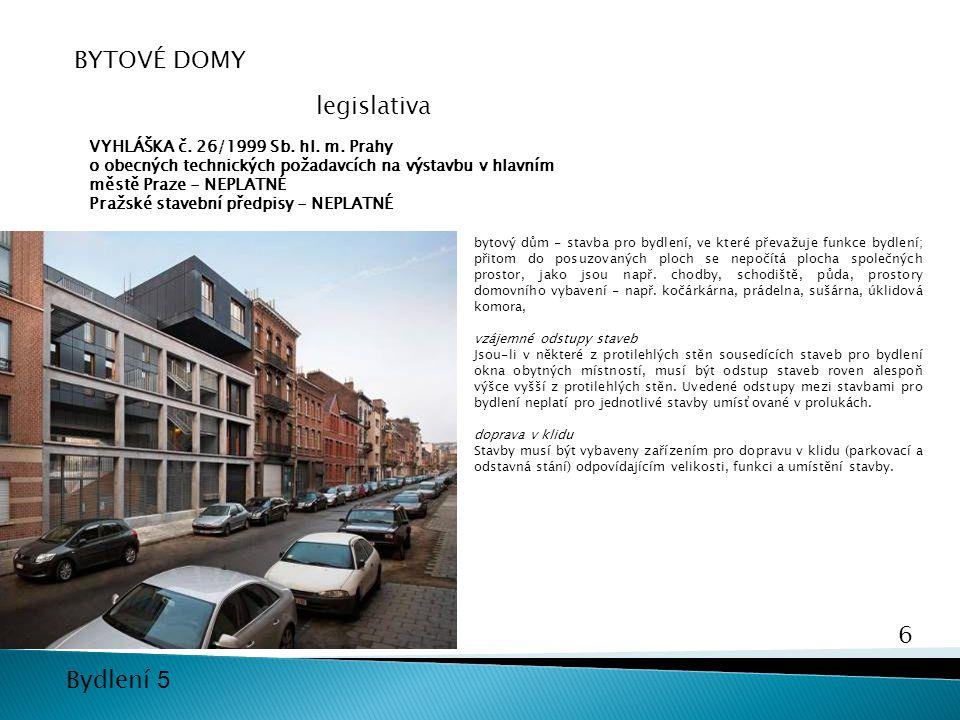 BYTOVÉ DOMY legislativa VYHLÁŠKA č. 26/1999 Sb. hl. m. Prahy