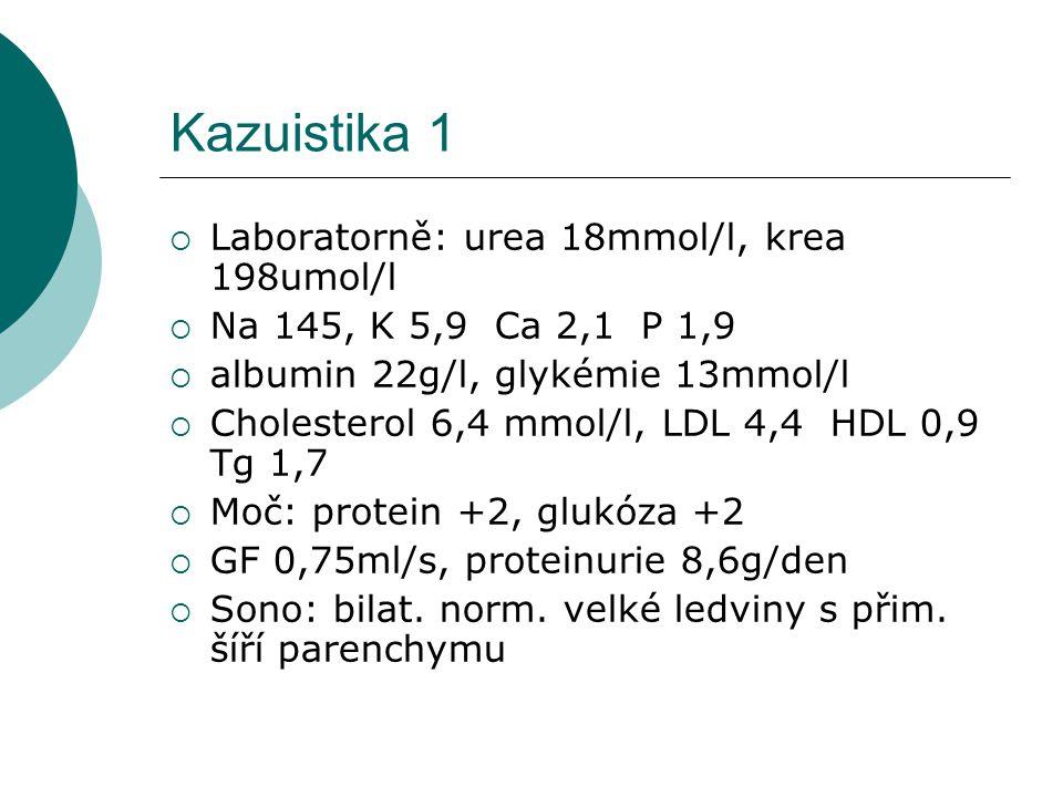 Kazuistika 1 Laboratorně: urea 18mmol/l, krea 198umol/l