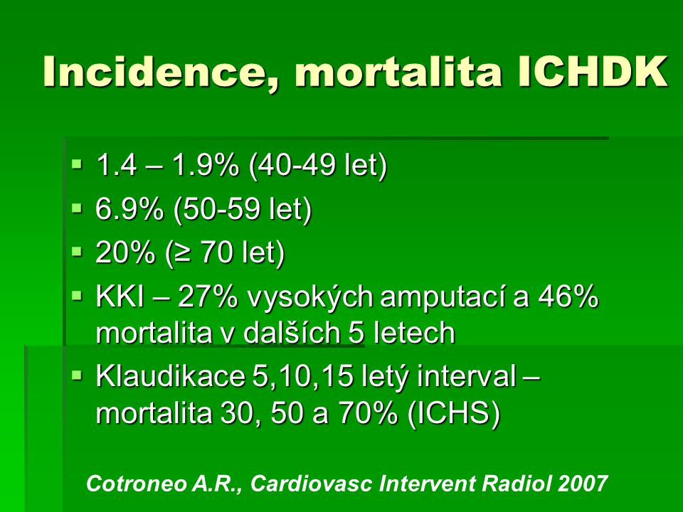 Incidence, mortalita ICHDK