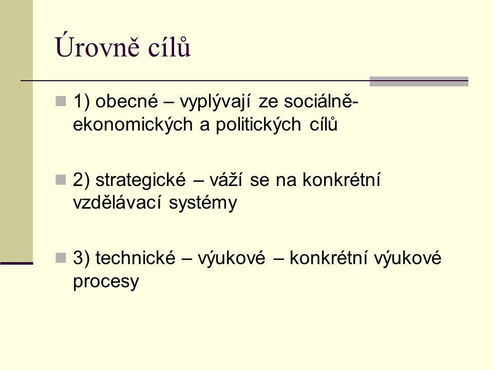 Úrovně cílů 1) obecné – vyplývají ze sociálně- ekonomických a politických cílů. 2) strategické – váží se na konkrétní vzdělávací systémy.