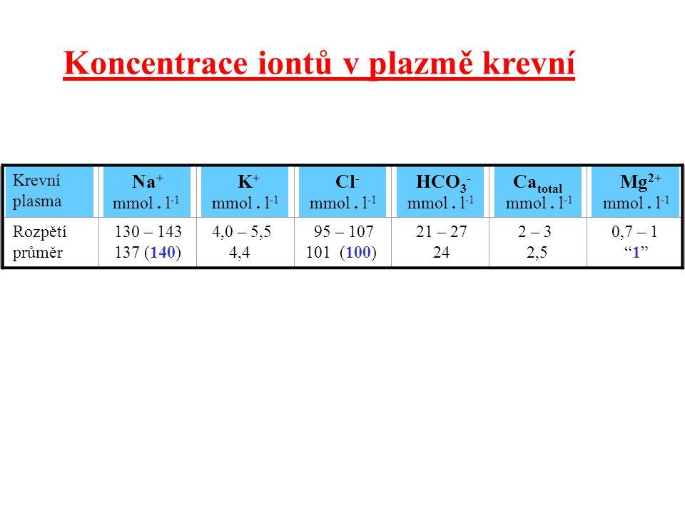 Koncentrace iontů v plazmě krevní