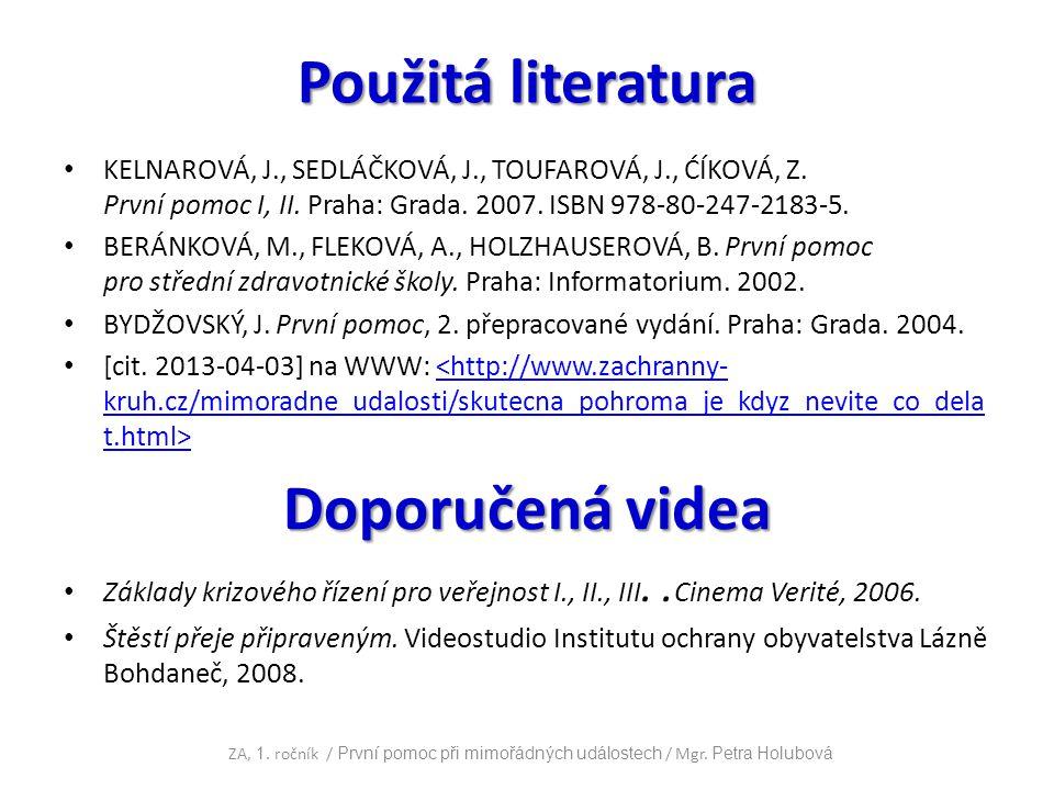 Použitá literatura Doporučená videa
