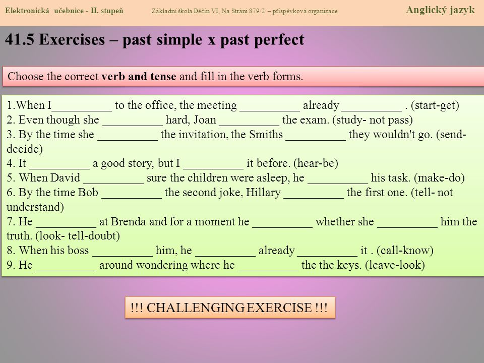 41.5 Exercises – past simple x past perfect