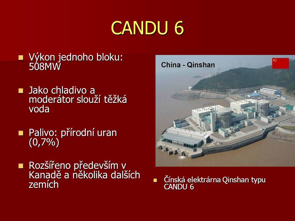 CANDU 6 Výkon jednoho bloku: 508MW