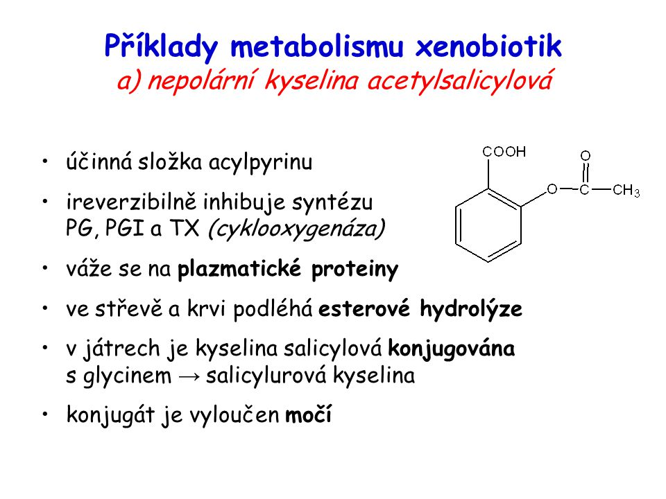 Příklady metabolismu xenobiotik a) nepolární kyselina acetylsalicylová