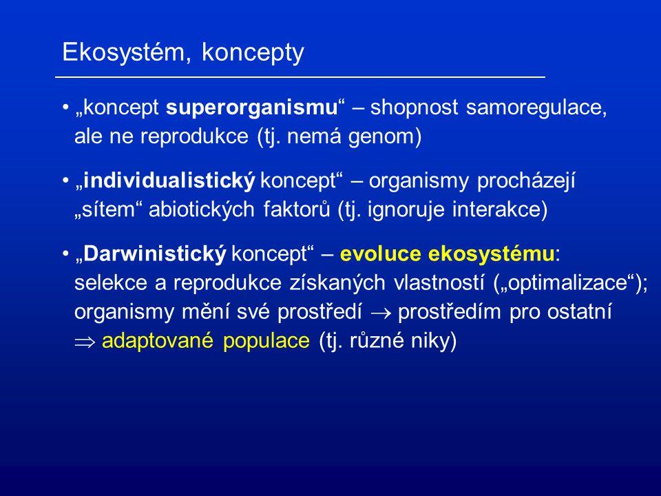 """Ekosystém, koncepty """"koncept superorganismu – shopnost samoregulace,"""