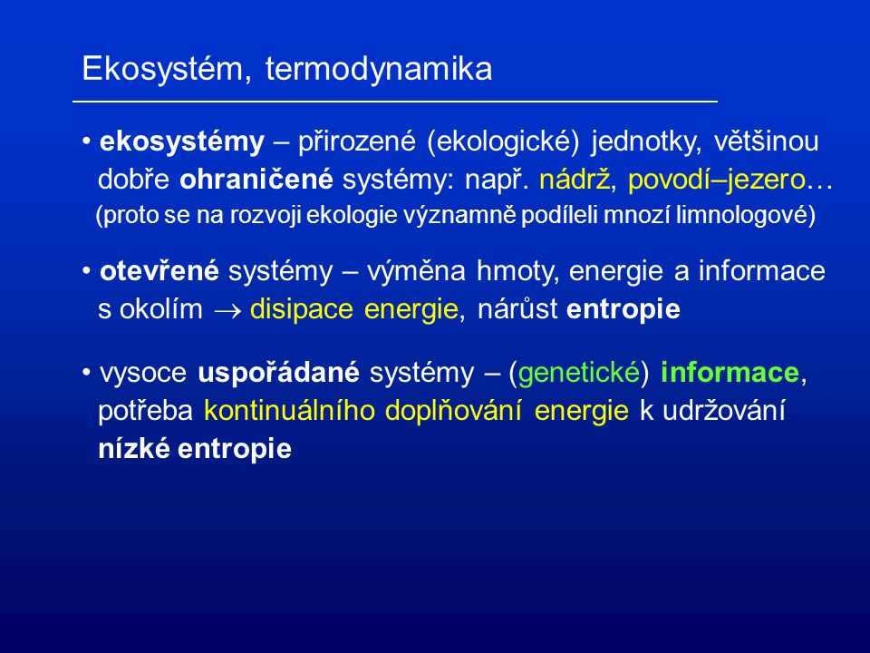Ekosystém, termodynamika