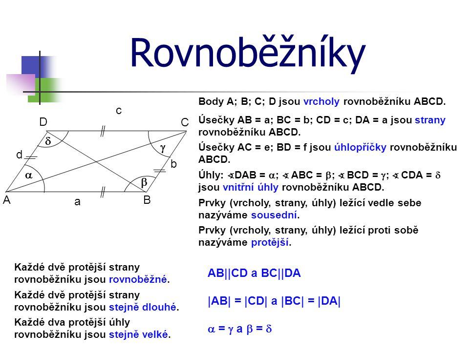 Rovnoběžníky c D C d g d b a b A a B AB||CD a BC||DA