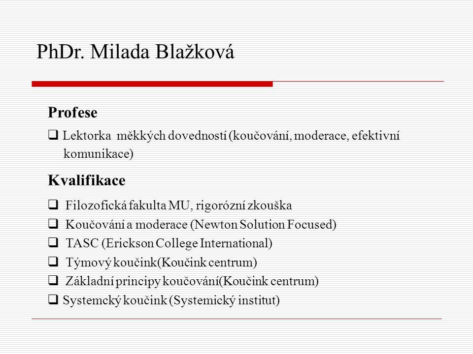 PhDr. Milada Blažková Profese Kvalifikace