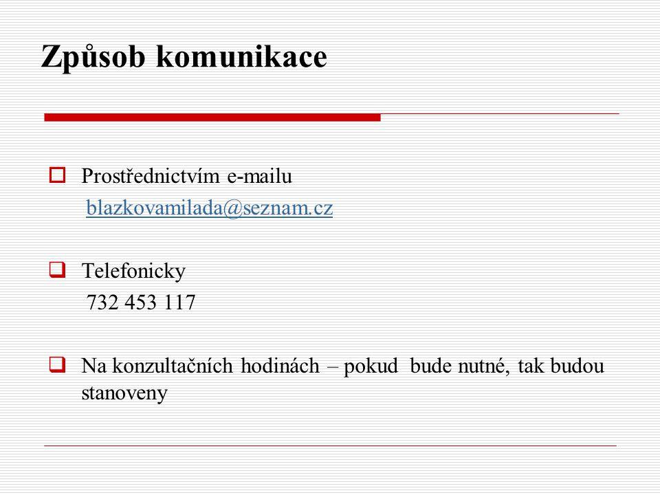 Způsob komunikace Prostřednictvím e-mailu blazkovamilada@seznam.cz