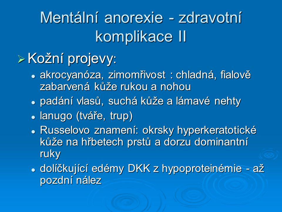 Mentální anorexie - zdravotní komplikace II