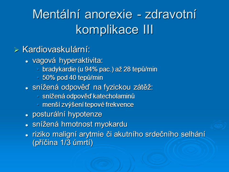 Mentální anorexie - zdravotní komplikace III