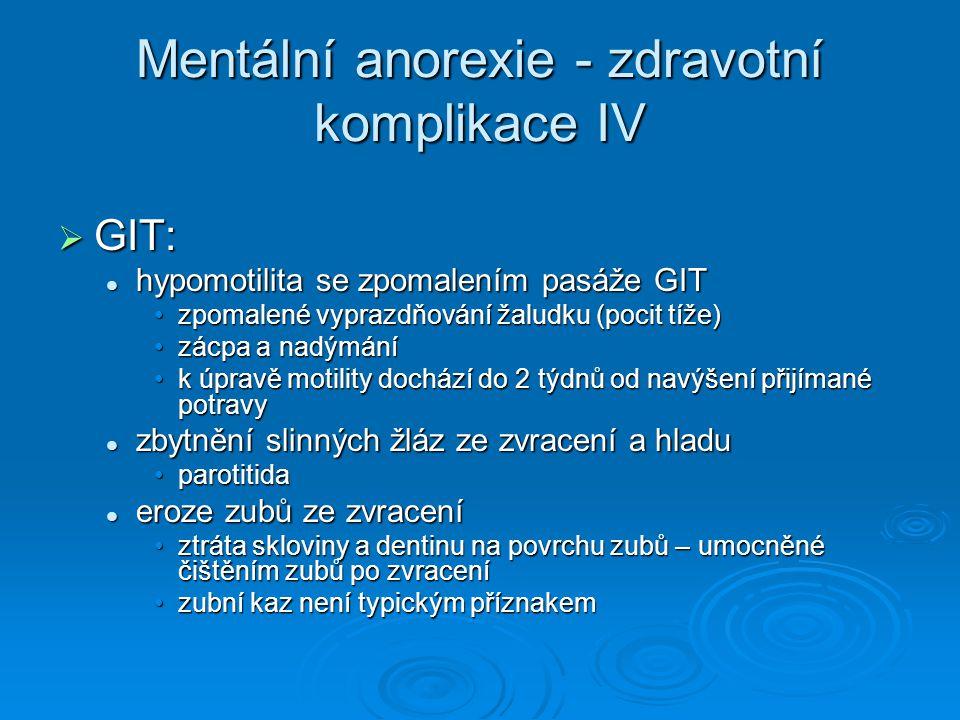Mentální anorexie - zdravotní komplikace IV