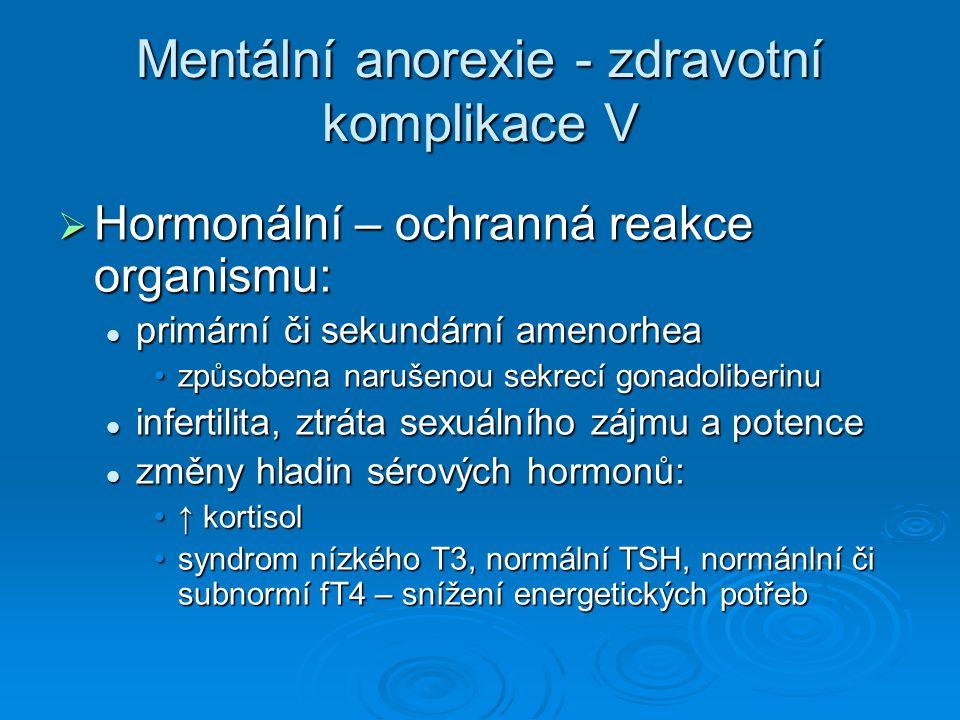 Mentální anorexie - zdravotní komplikace V