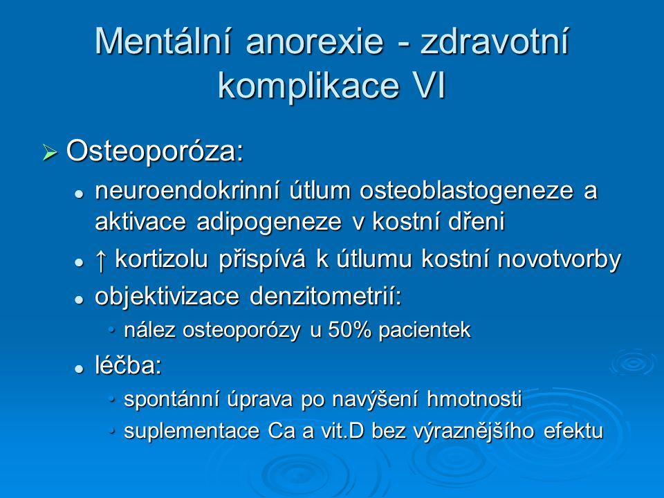 Mentální anorexie - zdravotní komplikace VI
