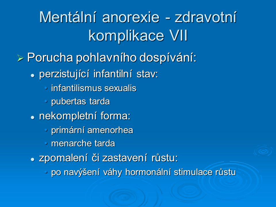 Mentální anorexie - zdravotní komplikace VII