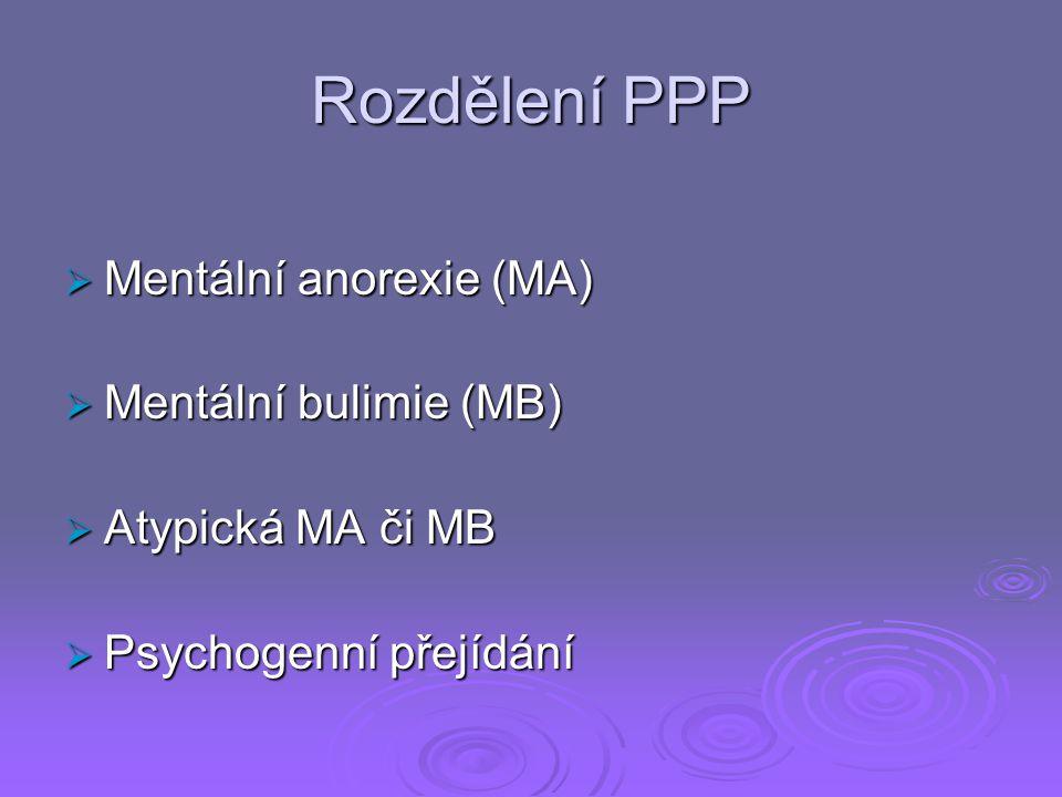 Rozdělení PPP Mentální anorexie (MA) Mentální bulimie (MB)