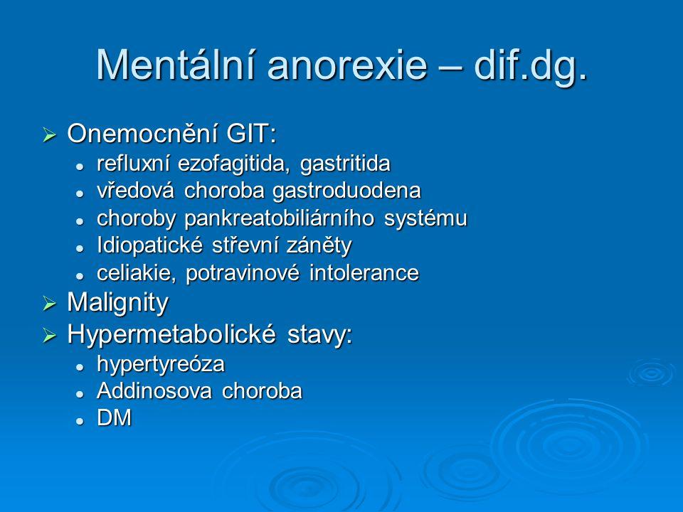 Mentální anorexie – dif.dg.