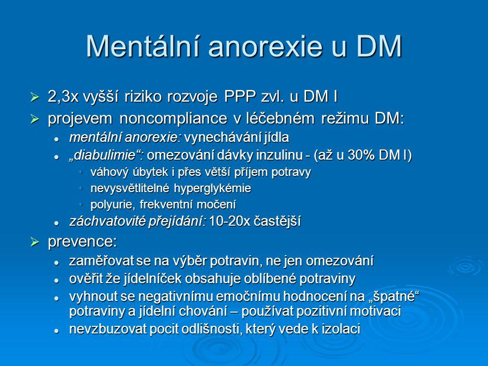 Mentální anorexie u DM 2,3x vyšší riziko rozvoje PPP zvl. u DM I