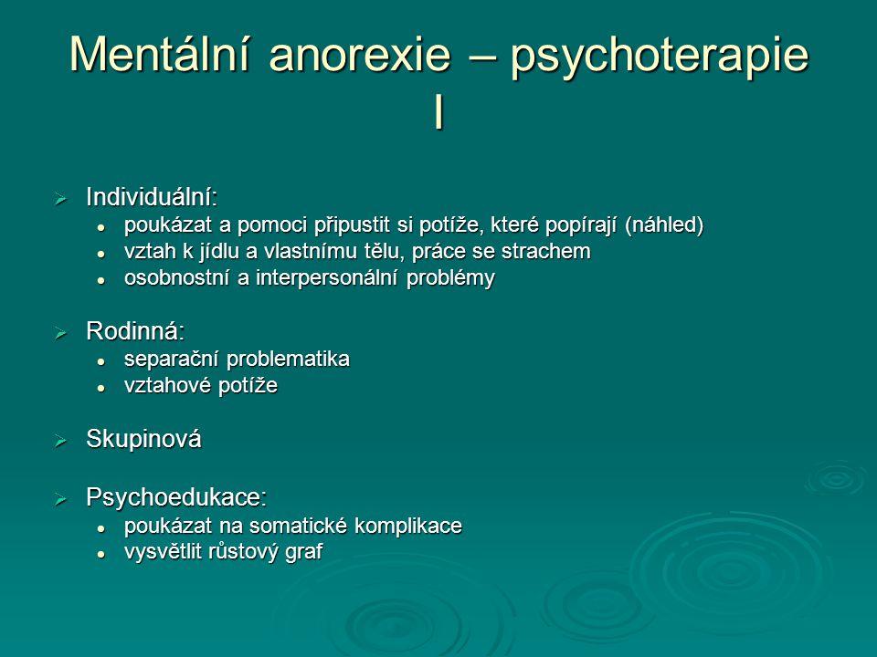 Mentální anorexie – psychoterapie I
