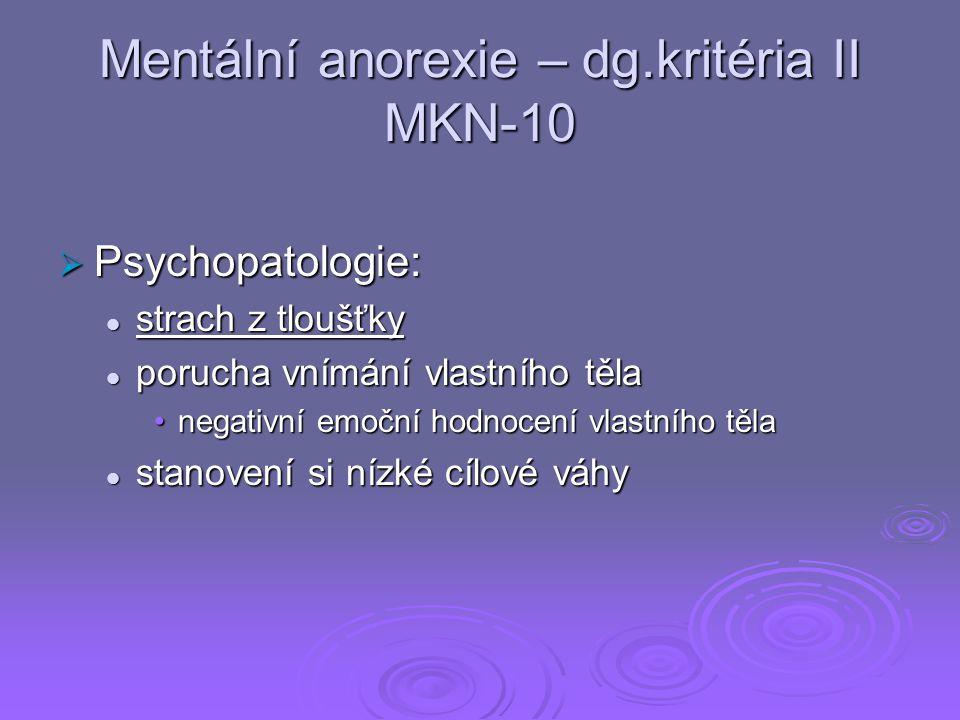 Mentální anorexie – dg.kritéria II MKN-10