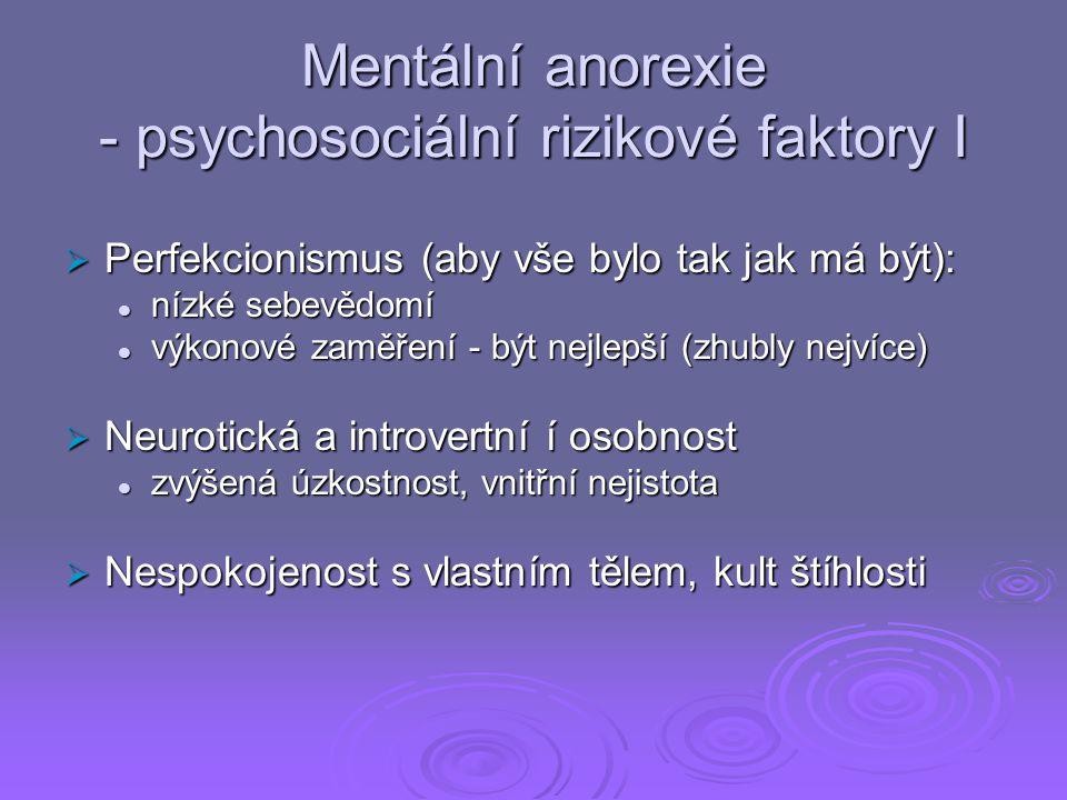 Mentální anorexie - psychosociální rizikové faktory I