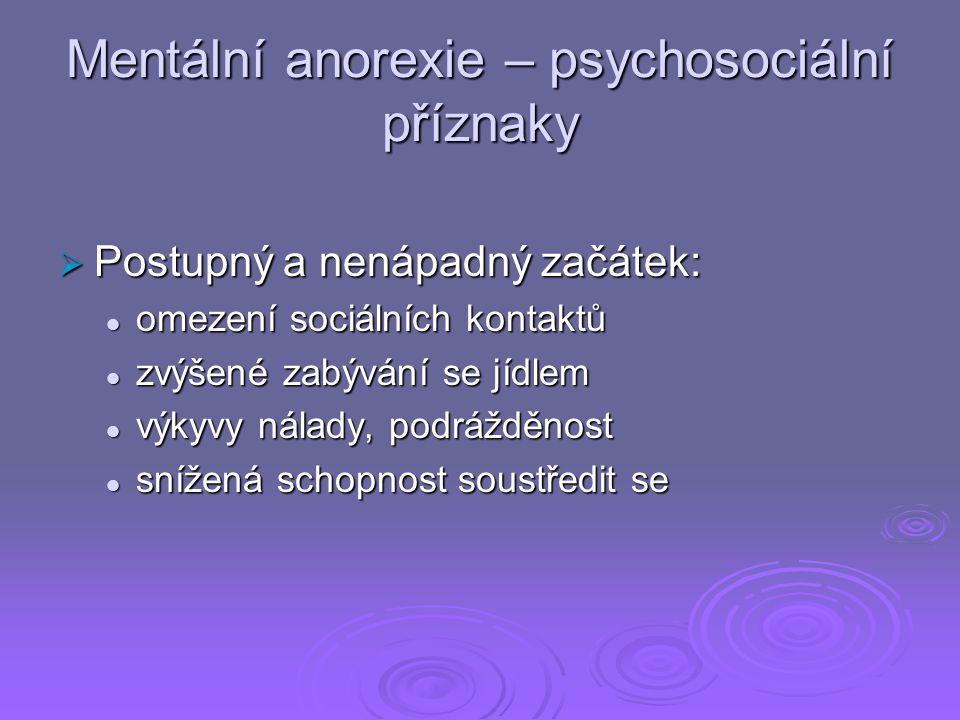 Mentální anorexie – psychosociální příznaky