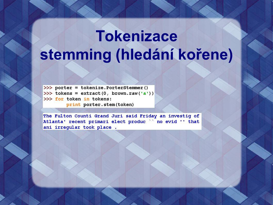 Tokenizace stemming (hledání kořene)