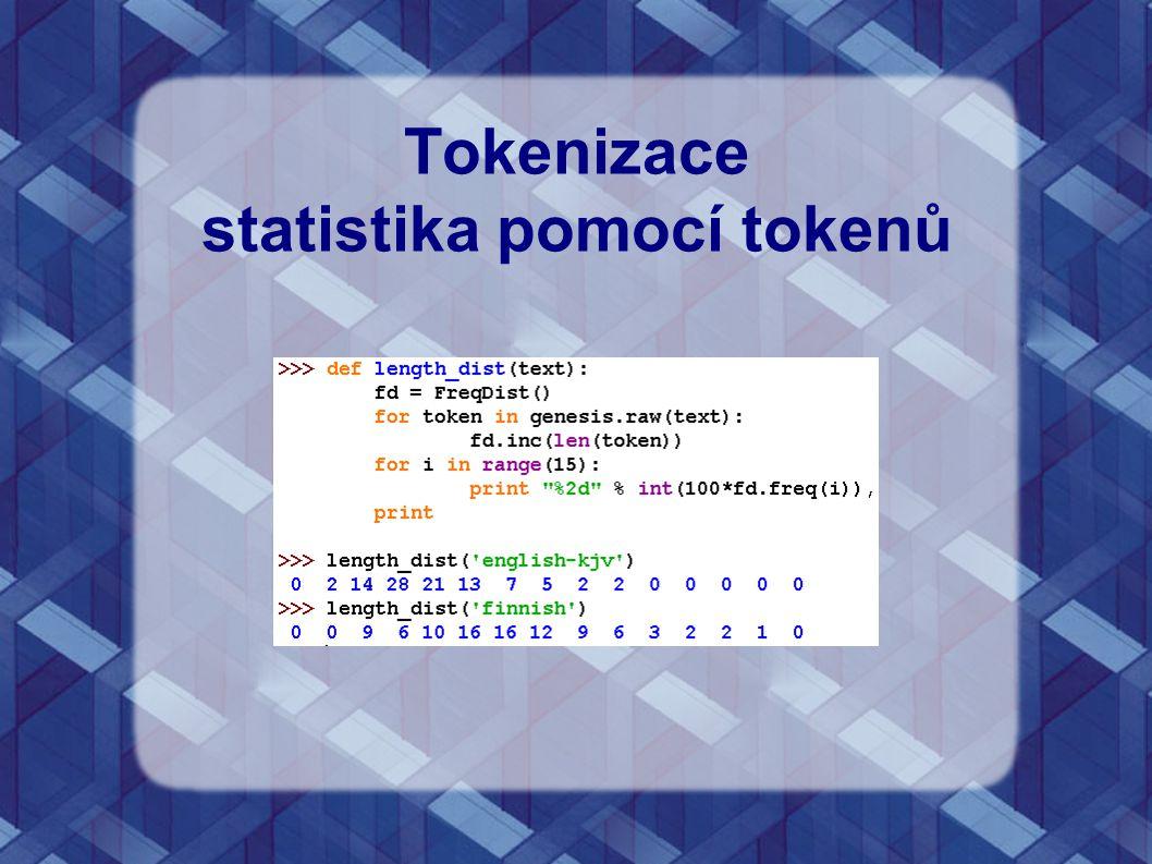 Tokenizace statistika pomocí tokenů
