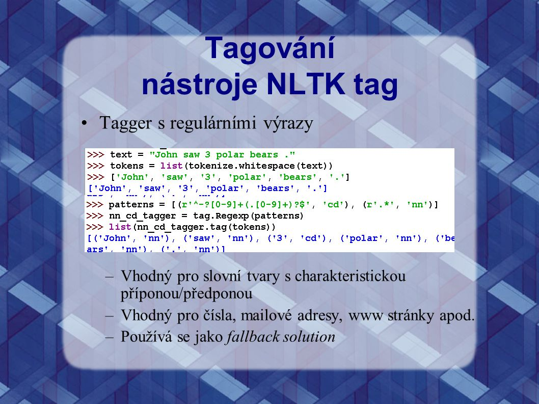 Tagování nástroje NLTK tag