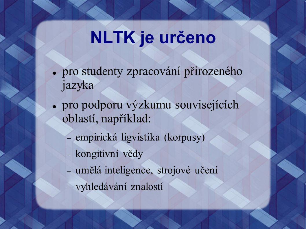 NLTK je určeno pro studenty zpracování přirozeného jazyka
