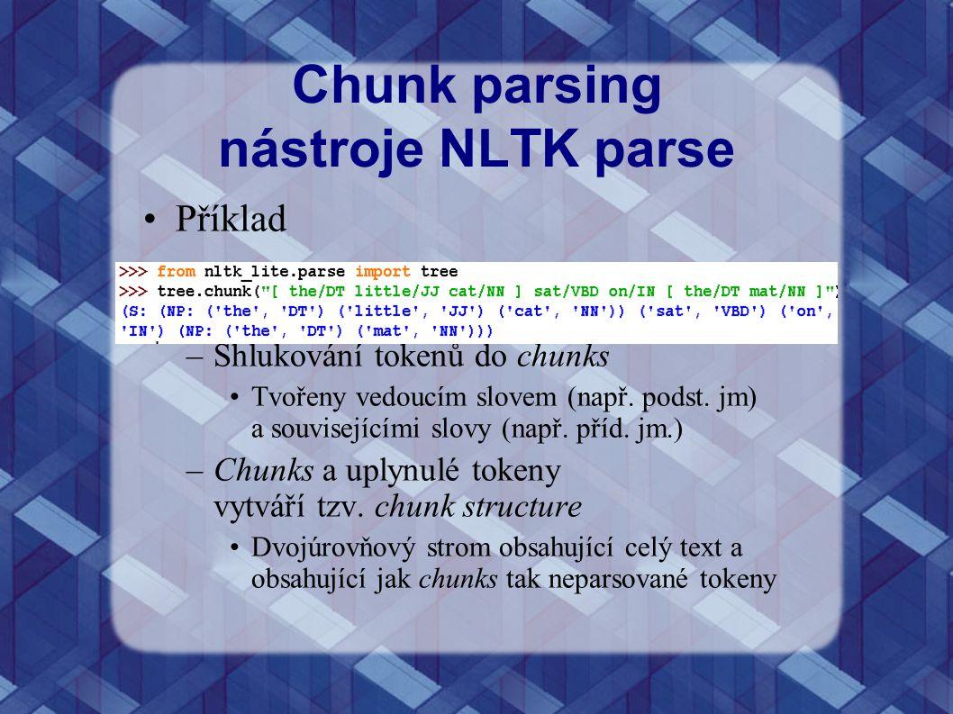 Chunk parsing nástroje NLTK parse