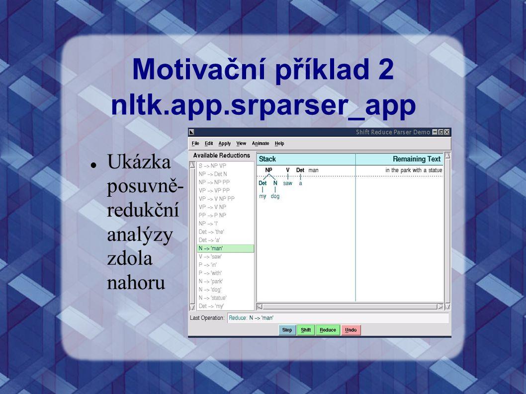 Motivační příklad 2 nltk.app.srparser_app