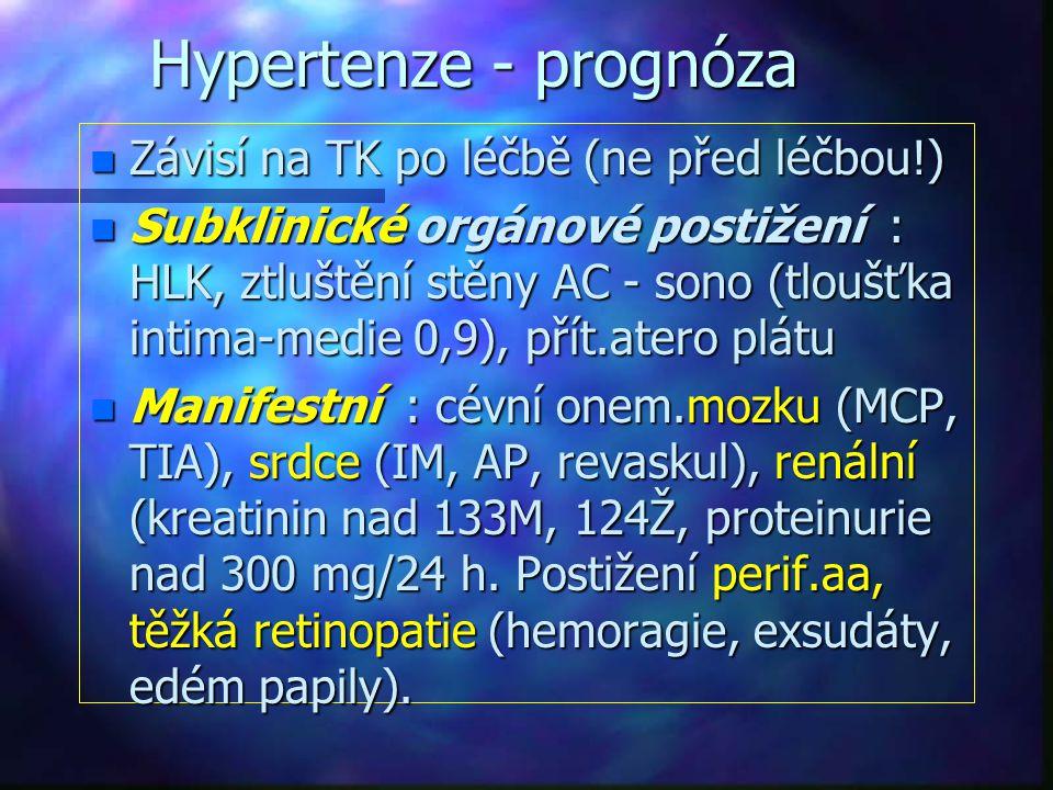 Hypertenze - prognóza Závisí na TK po léčbě (ne před léčbou!)