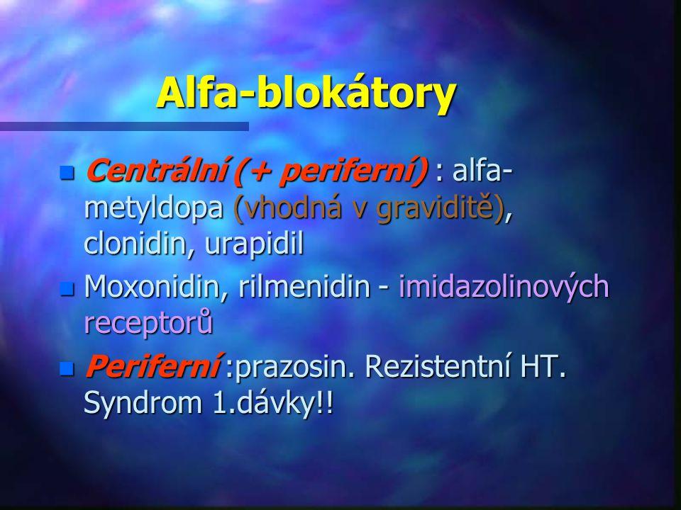 Alfa-blokátory Centrální (+ periferní) : alfa-metyldopa (vhodná v graviditě), clonidin, urapidil. Moxonidin, rilmenidin - imidazolinových receptorů.