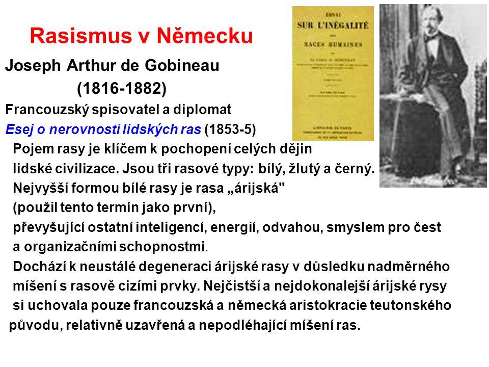 Rasismus v Německu Joseph Arthur de Gobineau (1816-1882)