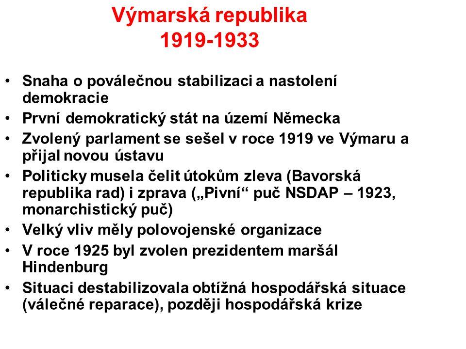 Výmarská republika 1919-1933 Snaha o poválečnou stabilizaci a nastolení demokracie. První demokratický stát na území Německa.