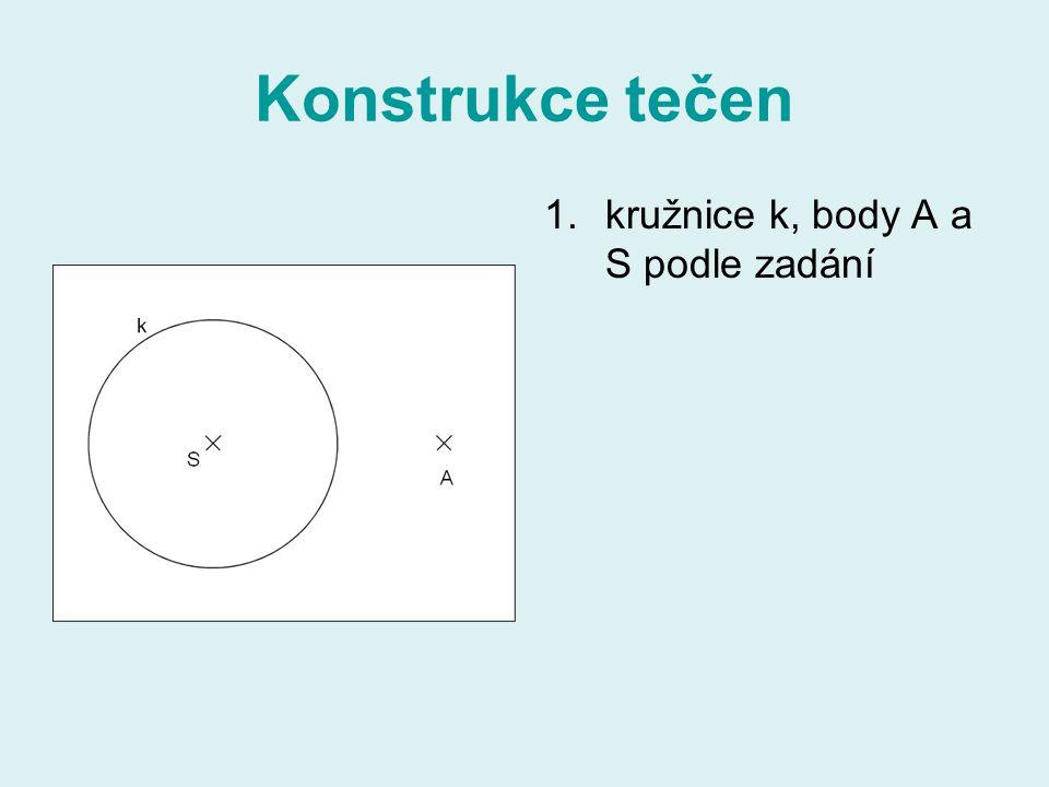 Konstrukce tečen kružnice k, body A a S podle zadání