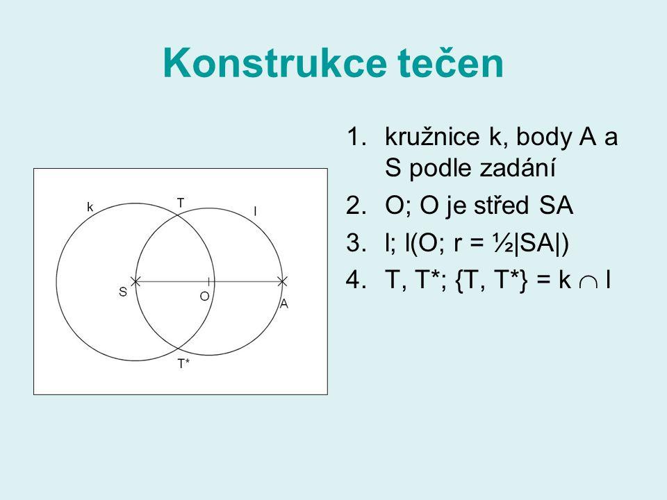 Konstrukce tečen kružnice k, body A a S podle zadání O; O je střed SA