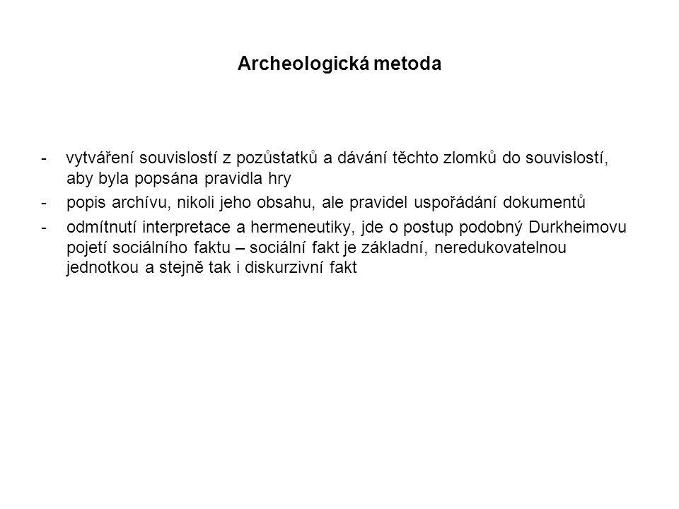 Archeologická metoda - vytváření souvislostí z pozůstatků a dávání těchto zlomků do souvislostí, aby byla popsána pravidla hry.